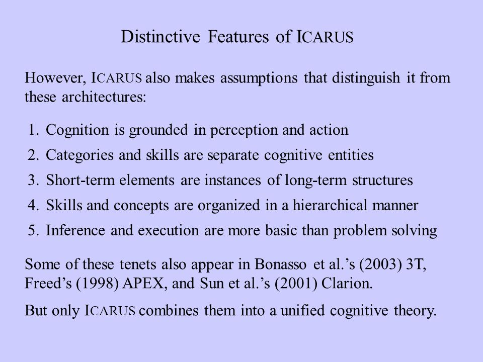 Distinctive Features of I CARUS However, I CARUS also makes assumptions that distinguish it from these architectures: Some of these tenets also appear in Bonasso et al.s (2003) 3T, Freeds (1998) APEX, and Sun et al.s (2001) Clarion.