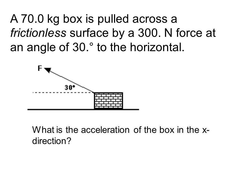 A 70.0 kg box is pulled across a frictionless surface by a 300. N force at an angle of 30.° to the horizontal. What is the acceleration of the box in