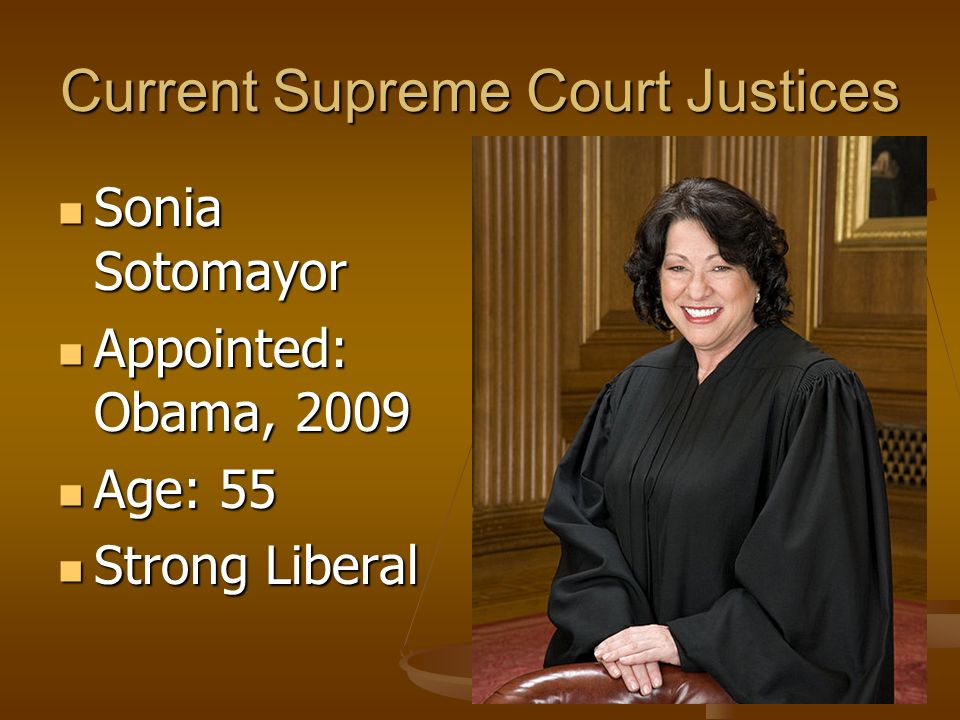 Current Supreme Court Justices Samuel Alito Samuel Alito Appointed: Bush, 2006 Appointed: Bush, 2006 Age: 60 Age: 60 Conservative Conservative