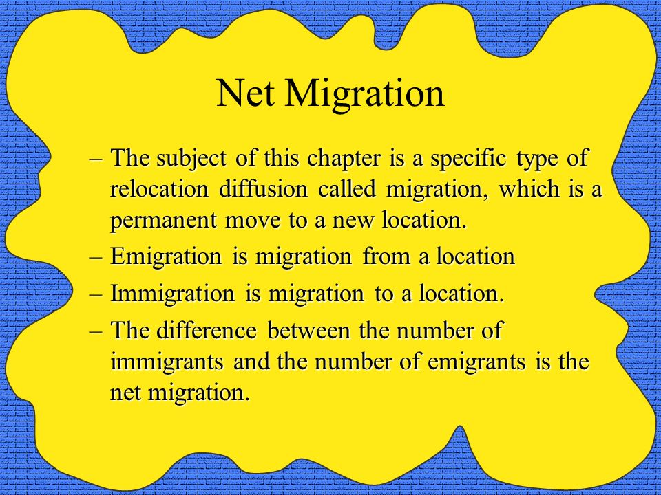 Migration and Circulation Migration is a form of mobility, which is a more general term covering all types of movements from one place to another.