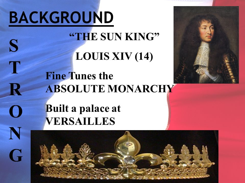 BACKGROUND STRONGSTRONG THE SUN KING LOUIS XIV (14) Fine Tunes the ABSOLUTE MONARCHY Built a palace at VERSAILLES