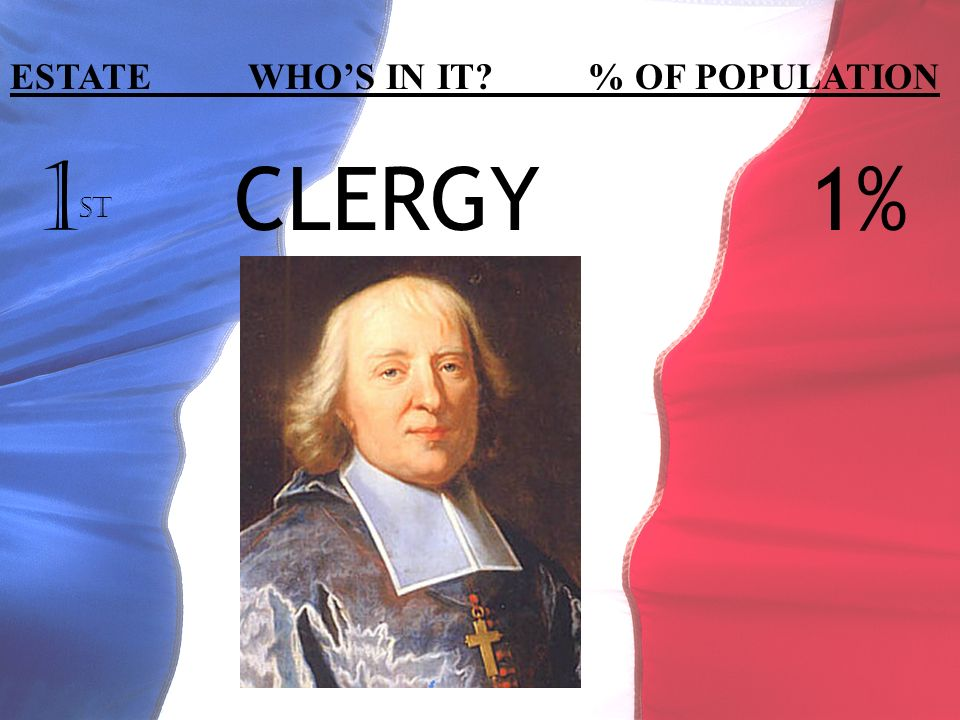 1 ST CLERGY1% ESTATE WHOS IN IT? % OF POPULATION