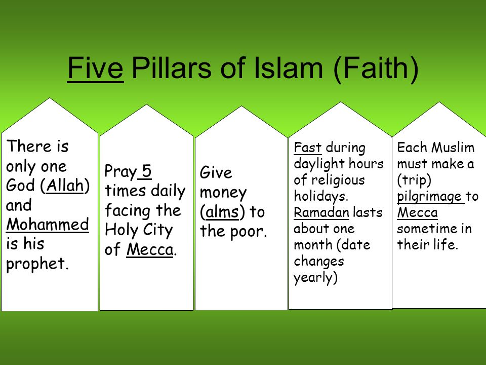Five Pillars of Islam (Faith) There is only one God (Allah) and Mohammed is his prophet. Pray 5 times daily facing the Holy City of Mecca. Give money