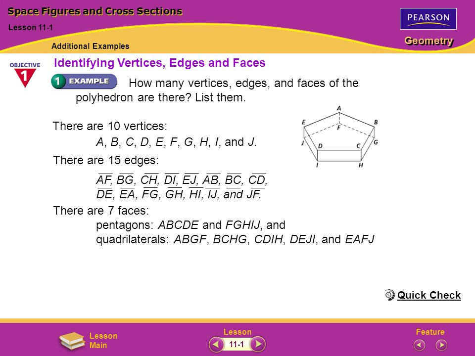 FeatureLesson Geometry Lesson Main Space Figures and Cross Sections Lesson 11-1 Notes 11-1 Euler is pronounced Oiler.