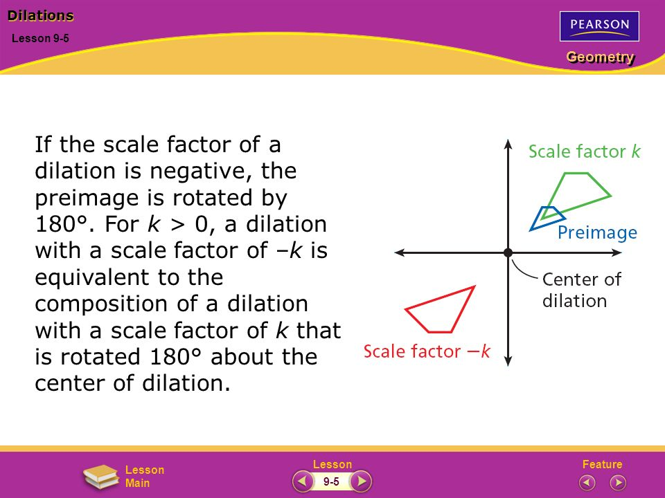 FeatureLesson Geometry Lesson Main Lesson 9-5 Dilations 9-5 If the scale factor of a dilation is negative, the preimage is rotated by 180°. For k > 0,
