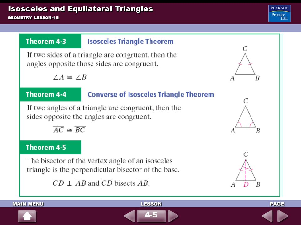 Isosceles and Equilateral Triangles GEOMETRY LESSON 4-5 4-5