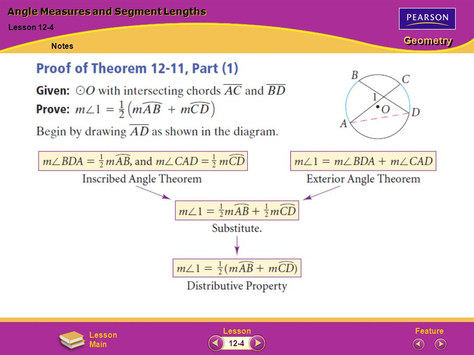 FeatureLesson Geometry Lesson Main Lesson 12-4 Angle Measures and Segment Lengths Notes 12-4