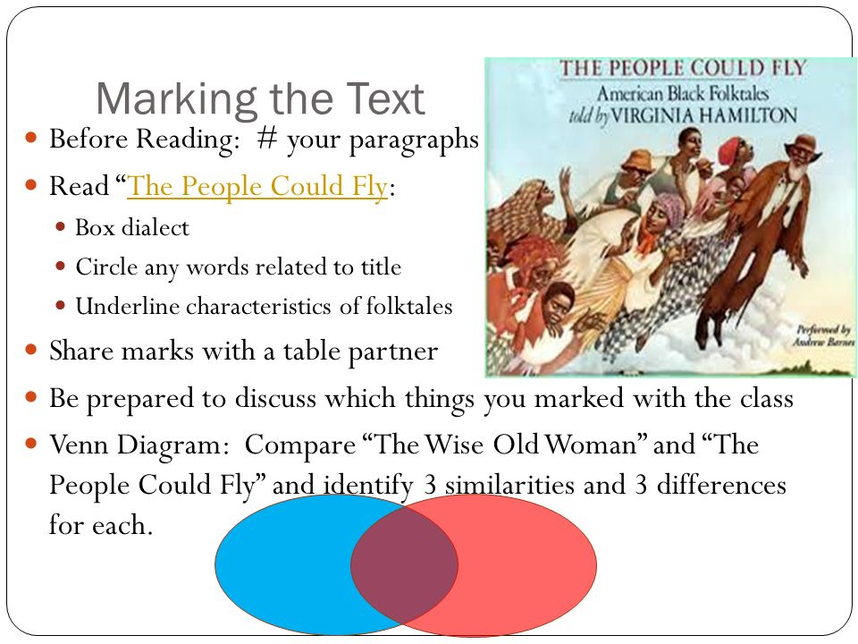 Marking the Text Before Reading: # your paragraphs Read The People Could Fly:The People Could Fly Box dialect Circle any words related to title Underl