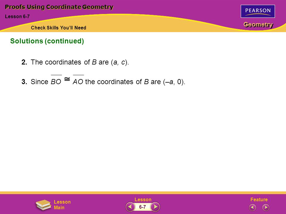 FeatureLesson Geometry Lesson Main 2.The coordinates of B are (a, c).