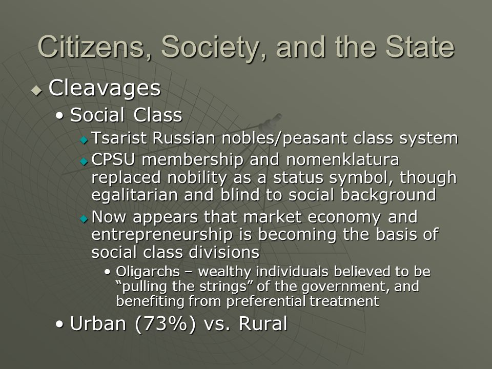 Citizens, Society, and the State Cleavages Cleavages Social ClassSocial Class Tsarist Russian nobles/peasant class system Tsarist Russian nobles/peasa