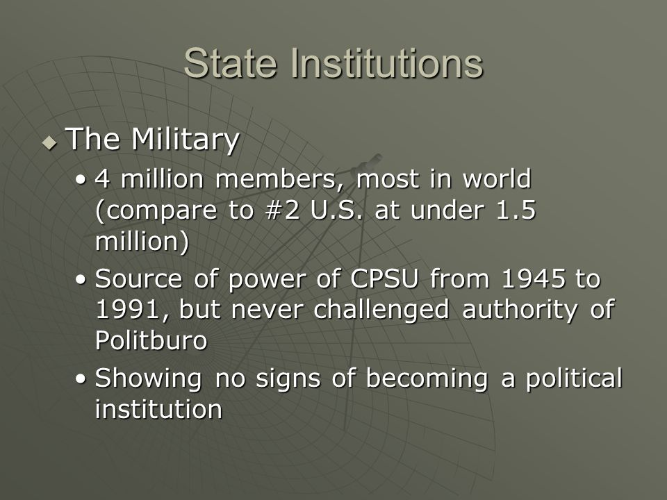 State Institutions The Military The Military 4 million members, most in world (compare to #2 U.S. at under 1.5 million)4 million members, most in worl