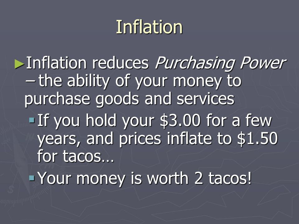 Inflation Inflation reduces Purchasing Power – the ability of your money to purchase goods and services Inflation reduces Purchasing Power – the abili