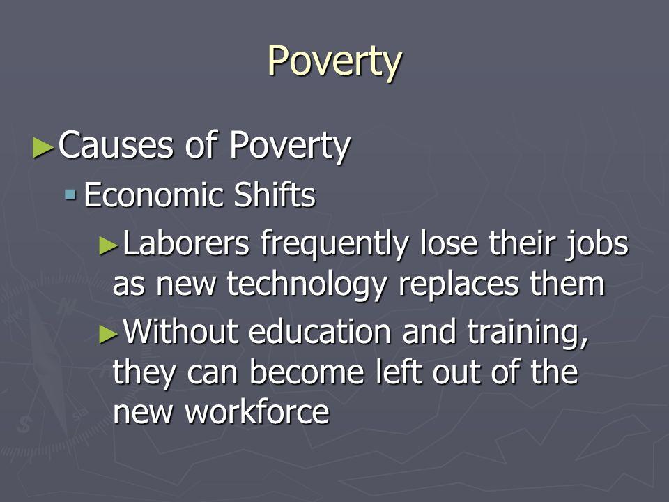 Poverty Causes of Poverty Causes of Poverty Racial/Gender Discrimination Racial/Gender Discrimination Women earn $0.75 for every dollar men make Women