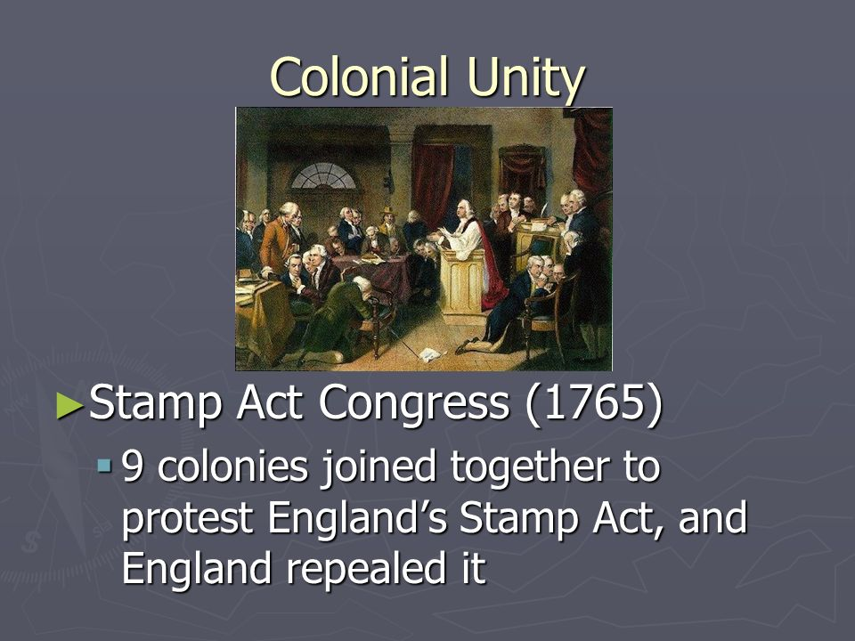 Britain Messes with the Colonies The Stamp Act 1765 The Stamp Act 1765 Required every published piece of paper to receive a British stamp of approval, and pay a tax with it Required every published piece of paper to receive a British stamp of approval, and pay a tax with it True intention was likely to stop colonists from publishing essays and newspapers critical of Britains government True intention was likely to stop colonists from publishing essays and newspapers critical of Britains government