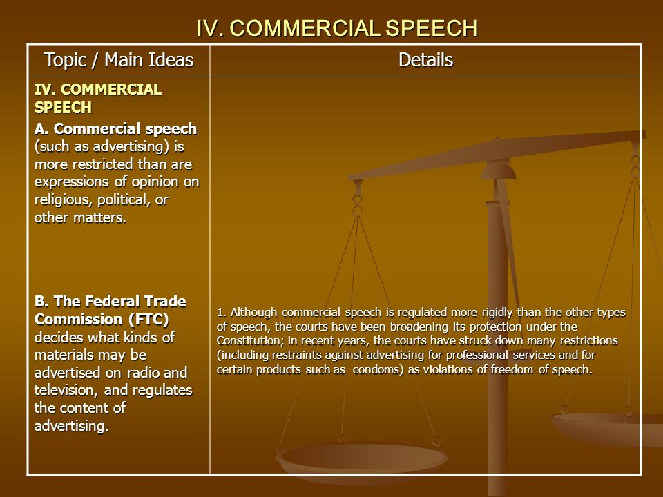 IV. COMMERCIAL SPEECH Topic / Main Ideas Details IV. COMMERCIAL SPEECH A. Commercial speech (such as advertising) is more restricted than are expressi