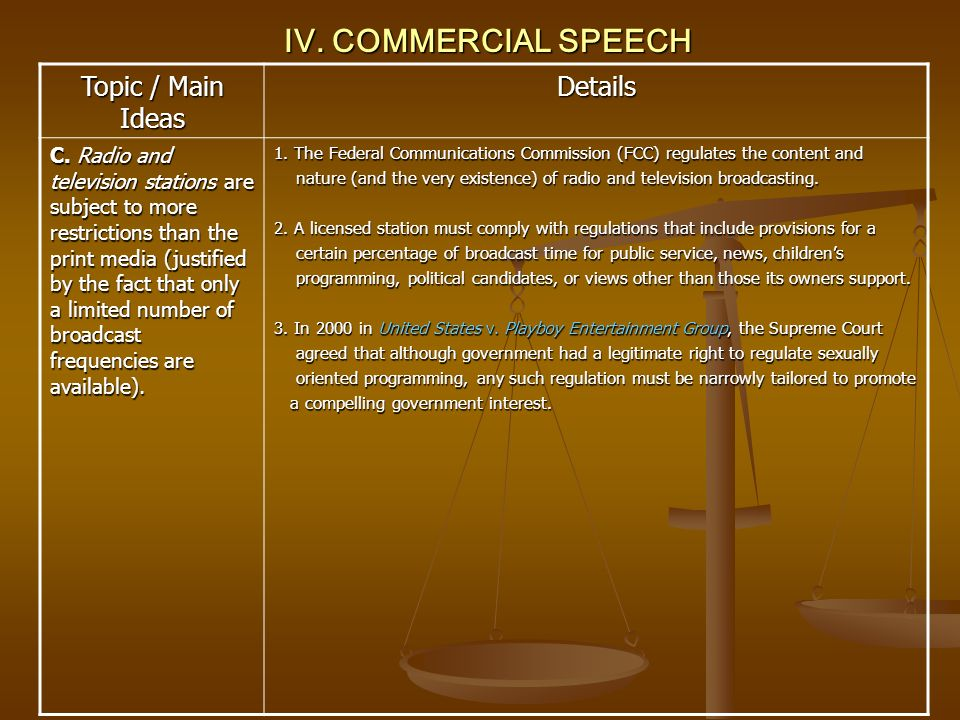 IV. COMMERCIAL SPEECH Topic / Main Ideas Details C. Radio and television stations are subject to more restrictions than the print media (justified by