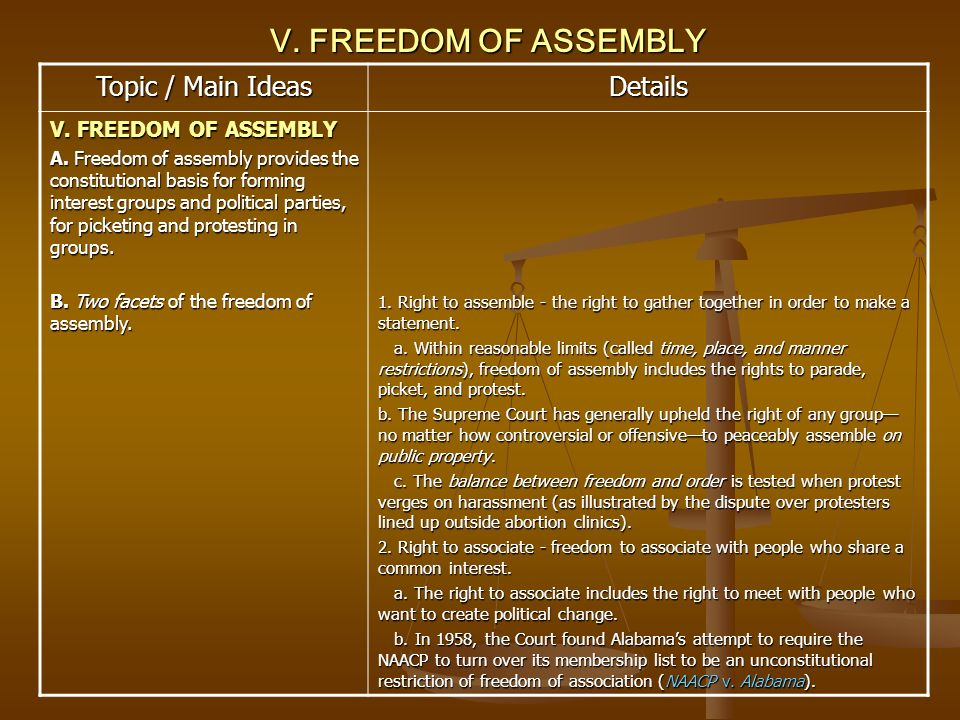 V. FREEDOM OF ASSEMBLY Topic / Main Ideas Details V. FREEDOM OF ASSEMBLY A. Freedom of assembly provides the constitutional basis for forming interest