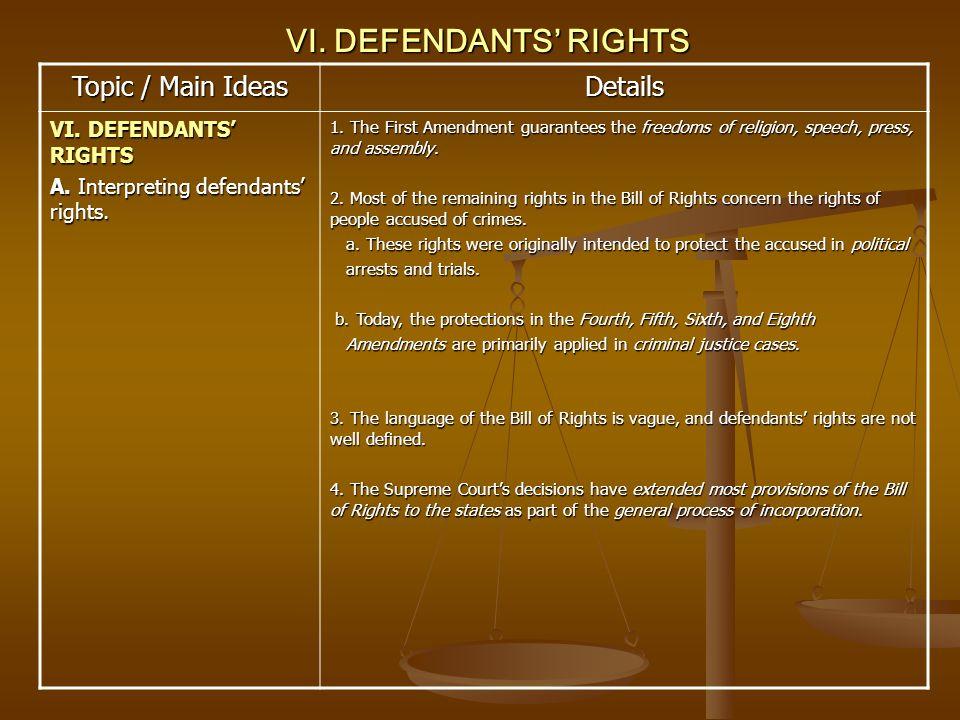 VI. DEFENDANTS RIGHTS Topic / Main Ideas Details VI. DEFENDANTS RIGHTS A. Interpreting defendants rights. 1. The First Amendment guarantees the freedo
