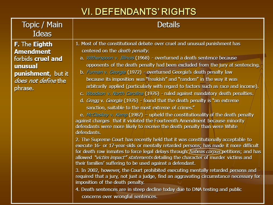 VI. DEFENDANTS RIGHTS Topic / Main Ideas Details F. The Eighth Amendment forbids cruel and unusual punishment, but it does not define the phrase. 1. M