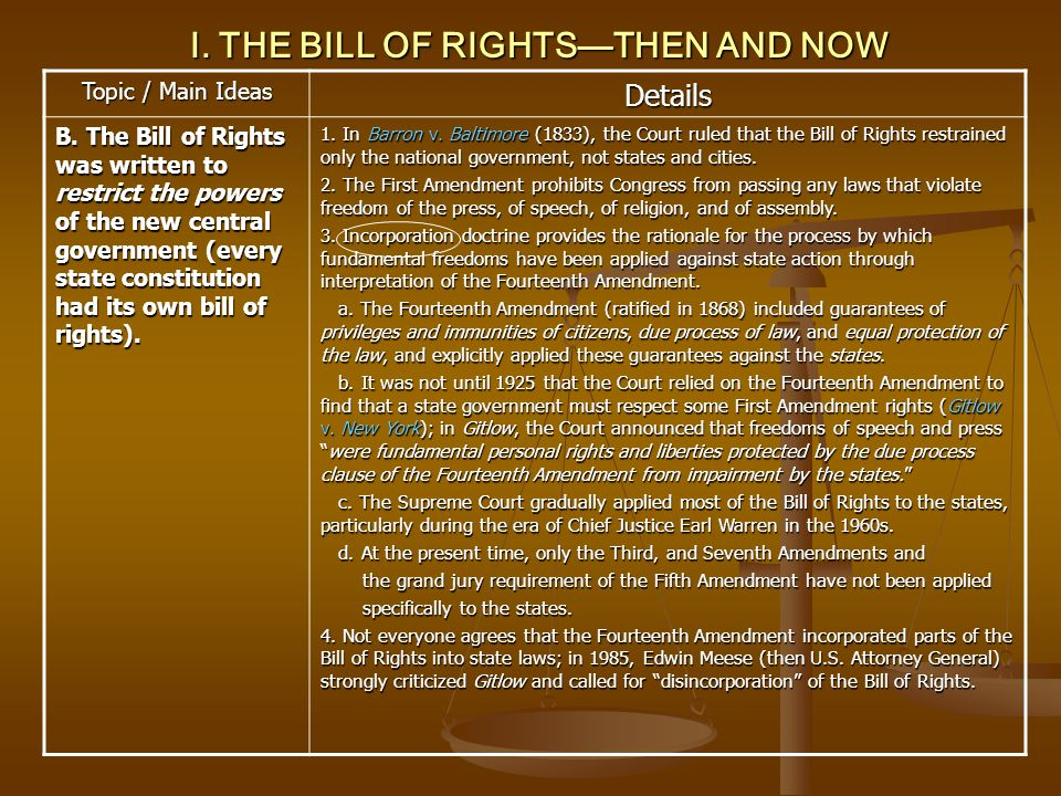 VII.THE RIGHT TO PRIVACY Topic / Main Ideas Details 5.
