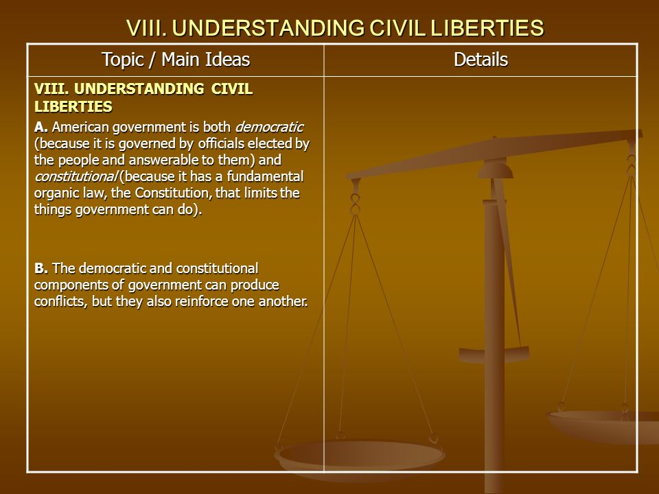VIII. UNDERSTANDING CIVIL LIBERTIES Topic / Main Ideas Details VIII. UNDERSTANDING CIVIL LIBERTIES A. American government is both democratic (because