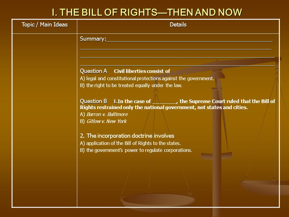 II.FREEDOM OF RELIGION Topic / Main Ideas Details II.