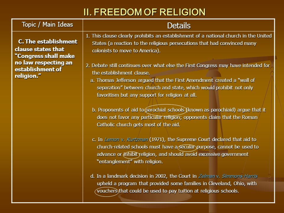 II. FREEDOM OF RELIGION Topic / Main Ideas Details C. The establishment clause states that Congress shall make no law respecting an establishment of r