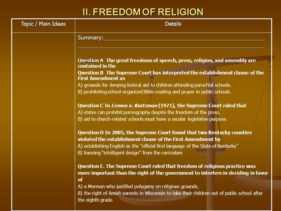 II. FREEDOM OF RELIGION Topic / Main Ideas Details Summary:___________________________________________________________________________________________