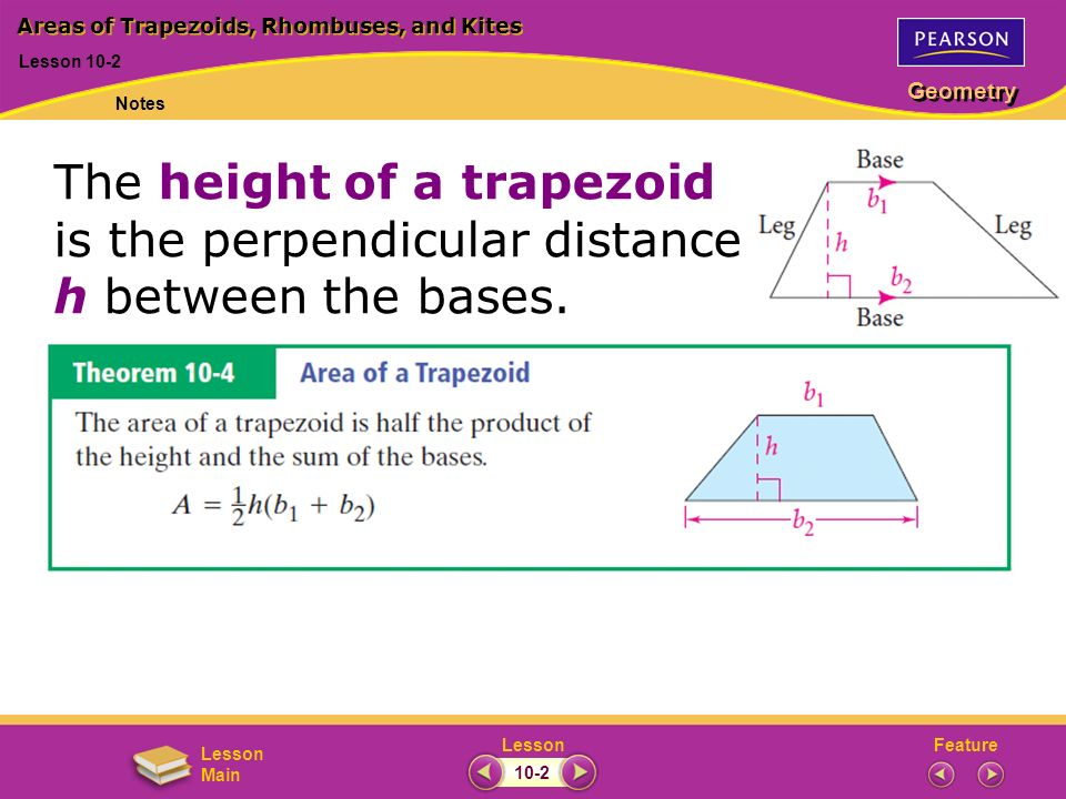 FeatureLesson Geometry Lesson Main Lesson 10-2 Areas of Trapezoids, Rhombuses, and Kites Notes 10-2 The height of a trapezoid is the perpendicular dis