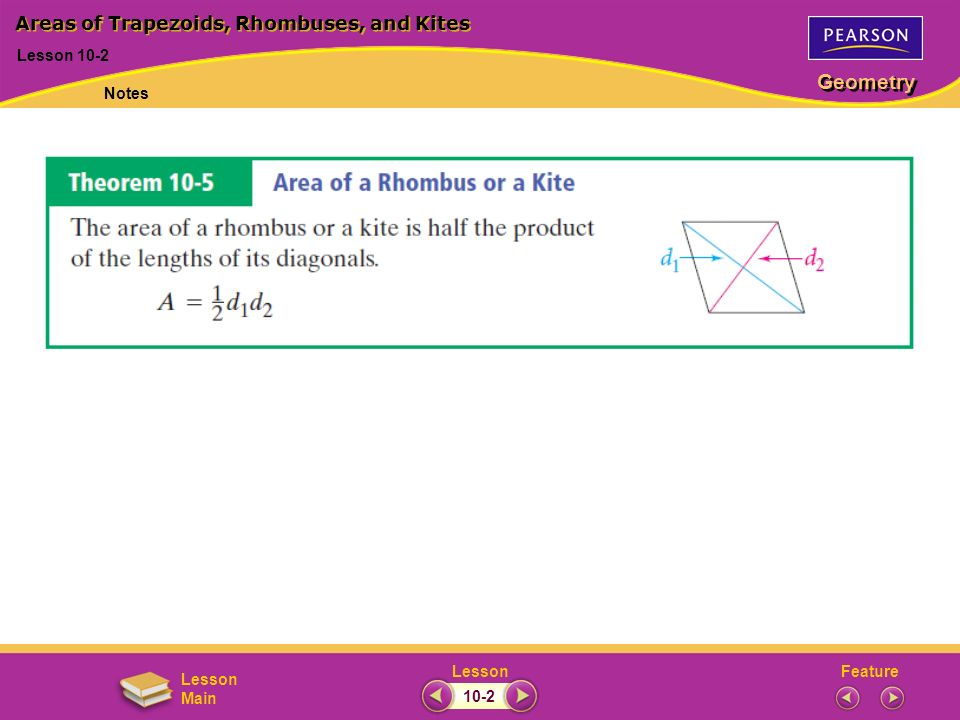 FeatureLesson Geometry Lesson Main Lesson 10-2 Areas of Trapezoids, Rhombuses, and Kites Notes 10-2