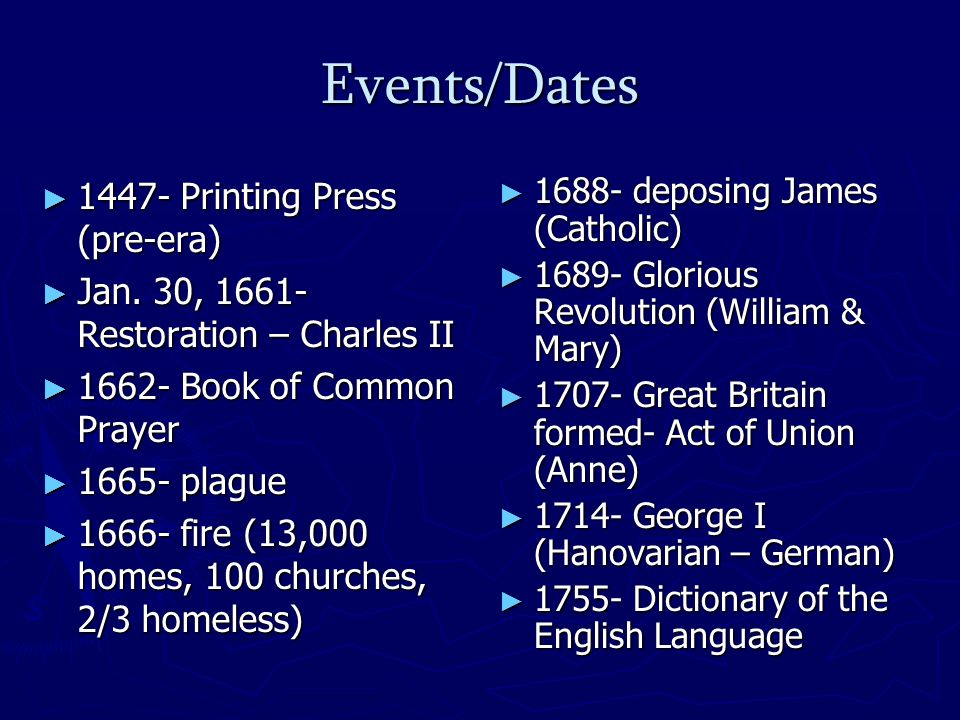 Events/Dates 1447- Printing Press (pre-era) 1447- Printing Press (pre-era) Jan.