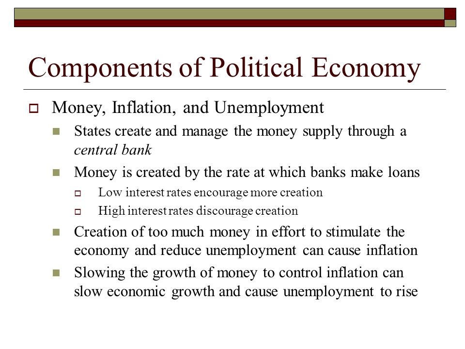 Components of Political Economy Money, Inflation, and Unemployment States create and manage the money supply through a central bank Money is created b