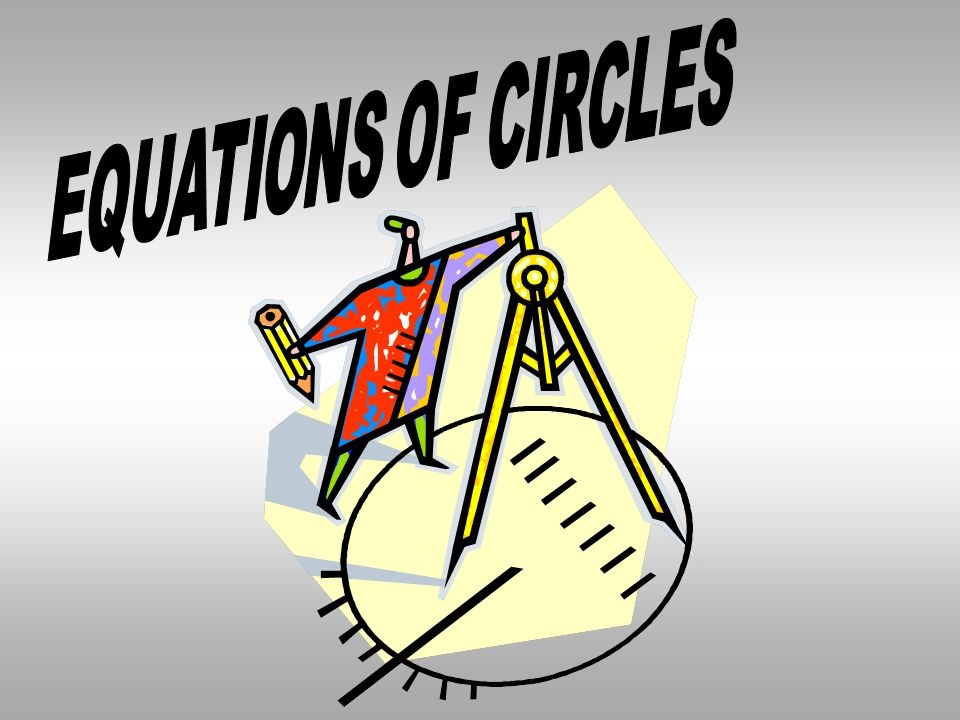 THE EQUATION OF A CIRCLE ON A GRAPH CAN BE DEFINED AS ( x - h )² + ( y – k )² = r² ( h, k ) = center r = radius