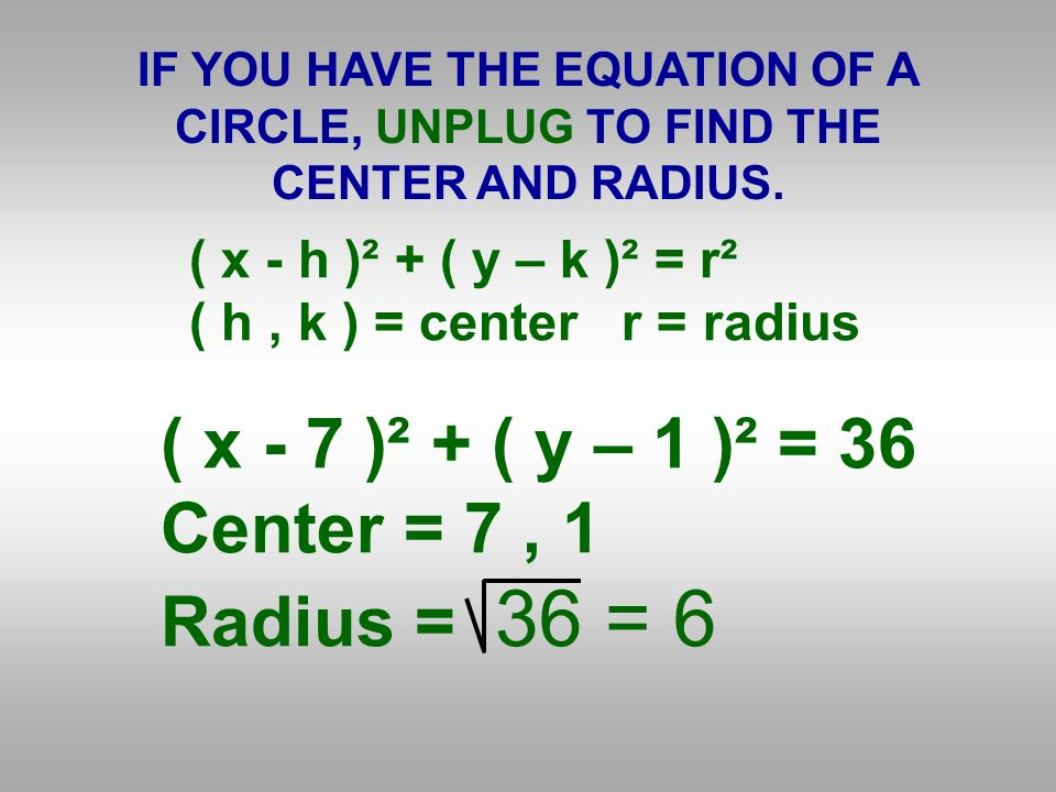 IF YOU HAVE THE EQUATION OF A CIRCLE, UNPLUG TO FIND THE CENTER AND RADIUS.