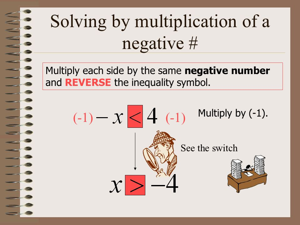 Solving by multiplication of a negative # Multiply each side by the same negative number and REVERSE the inequality symbol. Multiply by (-1). (-1) See