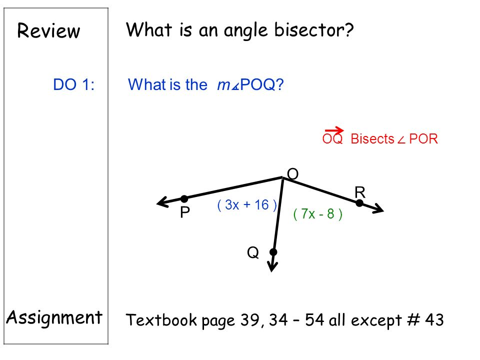 Review Assignment Textbook page 39, 34 – 54 all except # 43 What is an angle bisector.