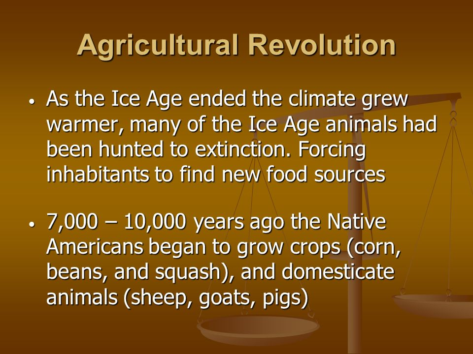 Agricultural Revolution As the Ice Age ended the climate grew warmer, many of the Ice Age animals had been hunted to extinction. Forcing inhabitants t
