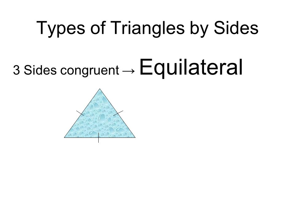 Types of Triangles by Sides 3 Sides congruent Equilateral