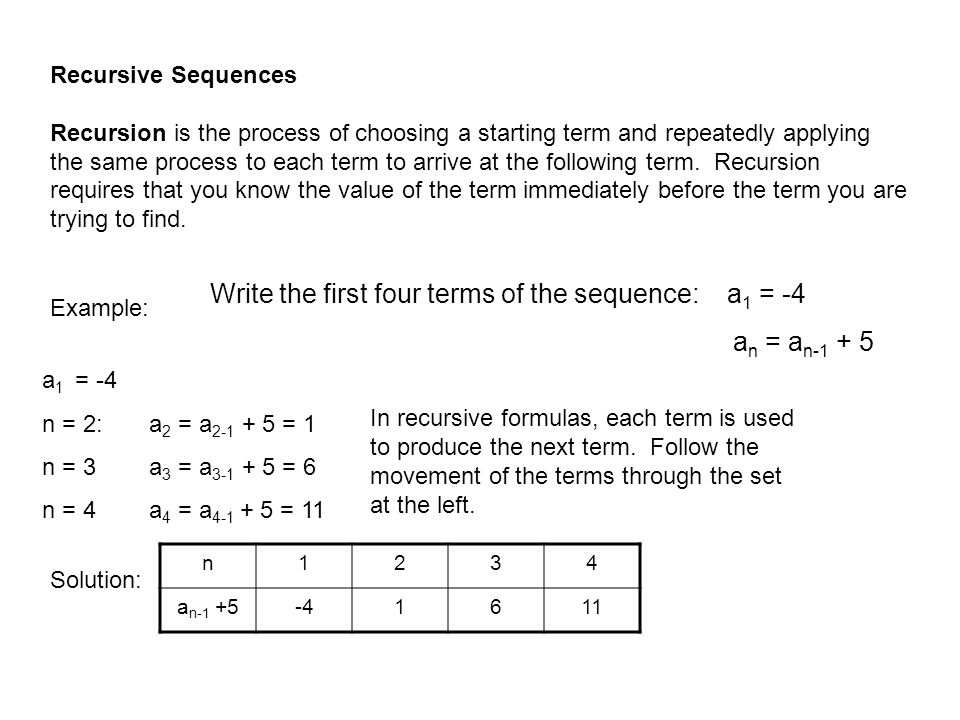 Recursive Sequences Recursion is the process of choosing a starting term and repeatedly applying the same process to each term to arrive at the follow