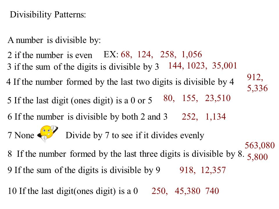 Divisibility Patterns: A number is divisible by: 2 if the number is even 3 if the sum of the digits is divisible by 3 4 If the number formed by the la