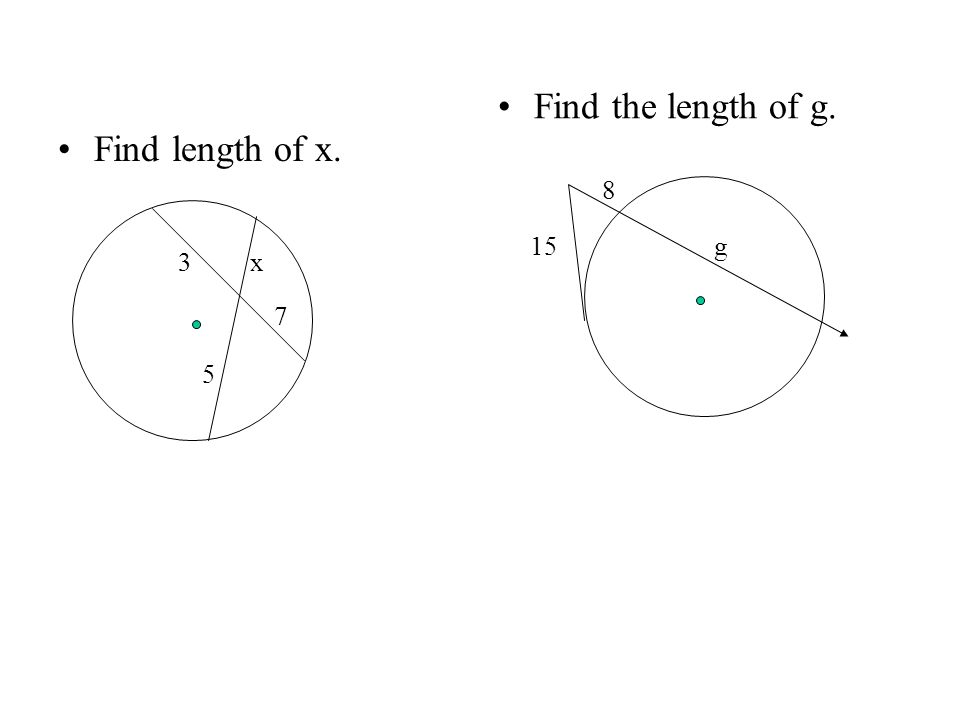 Find length of x. Find the length of g. 3x 7 5 15 8 g