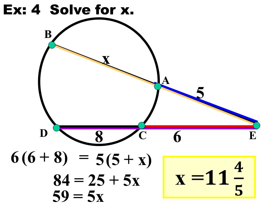 E A B C D x 6(6 + 8) 5(5 + x) = Ex: 4 Solve for x. 84 = x 59 = 5x