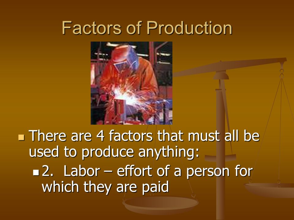 Factors of Production There are 4 factors that must all be used to produce anything: 1. Natural Resources (also referred to as land)