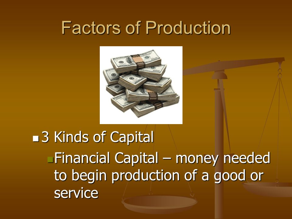 Factors of Production 3 Kinds of Capital Human Capital – knowledge or skills workers get from education and experience