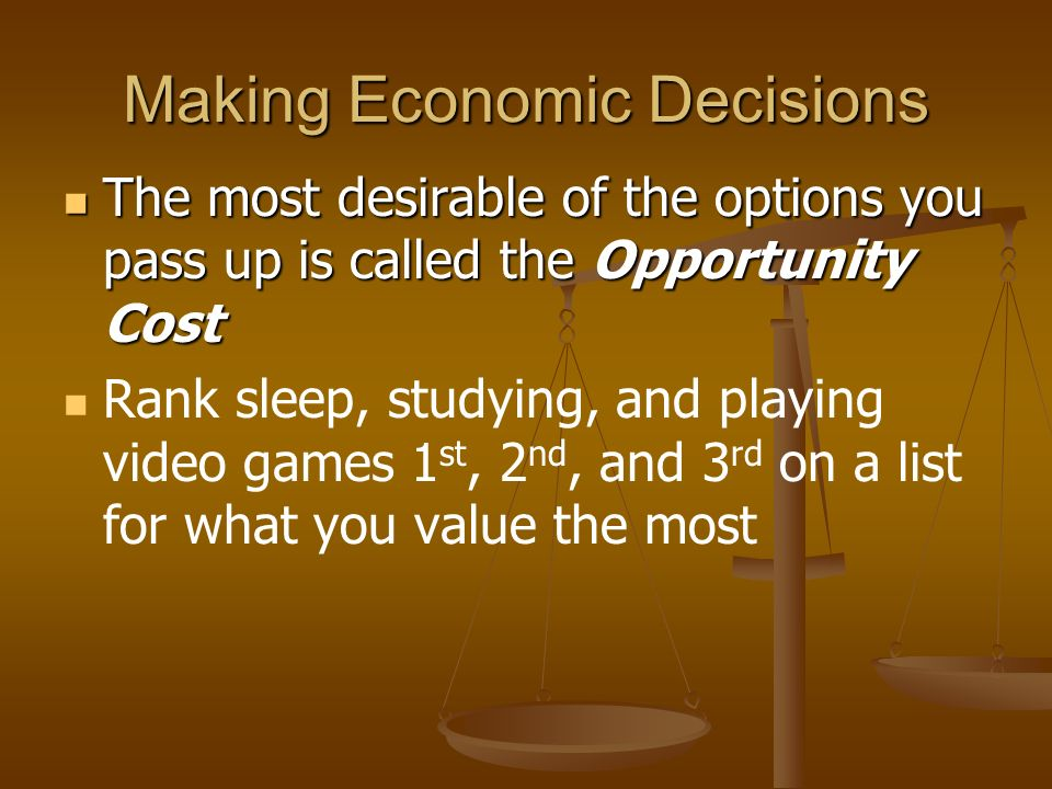 Thinking at the Margin Definition: Definition: Deciding whether to do or use ONE ADDITIONAL unit of some resource. Deciding whether to do or use ONE A