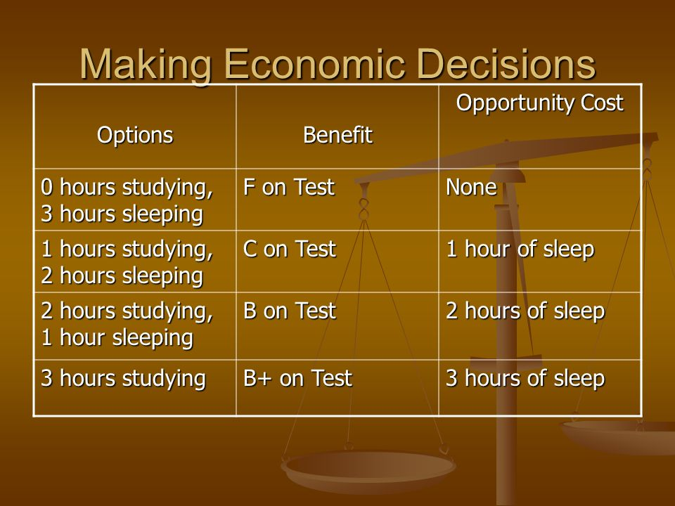 Making Economic Decisions What other option do you have other than using 3 hours for one task.