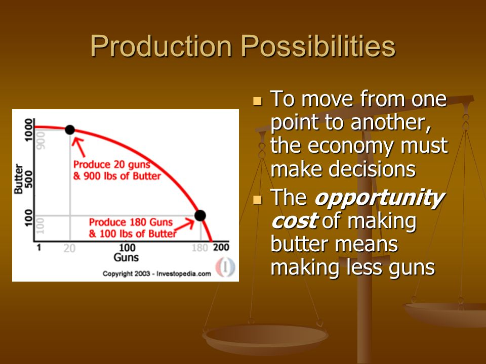 Production Possibilities Graph – shows alternatives to what an economy can produce Production Possibilities Graph – shows alternatives to what an economy can produce The outer red line shows the maximum possible output with any given combination The outer red line shows the maximum possible output with any given combination This is the Production Possibilities Frontier This is the Production Possibilities Frontier