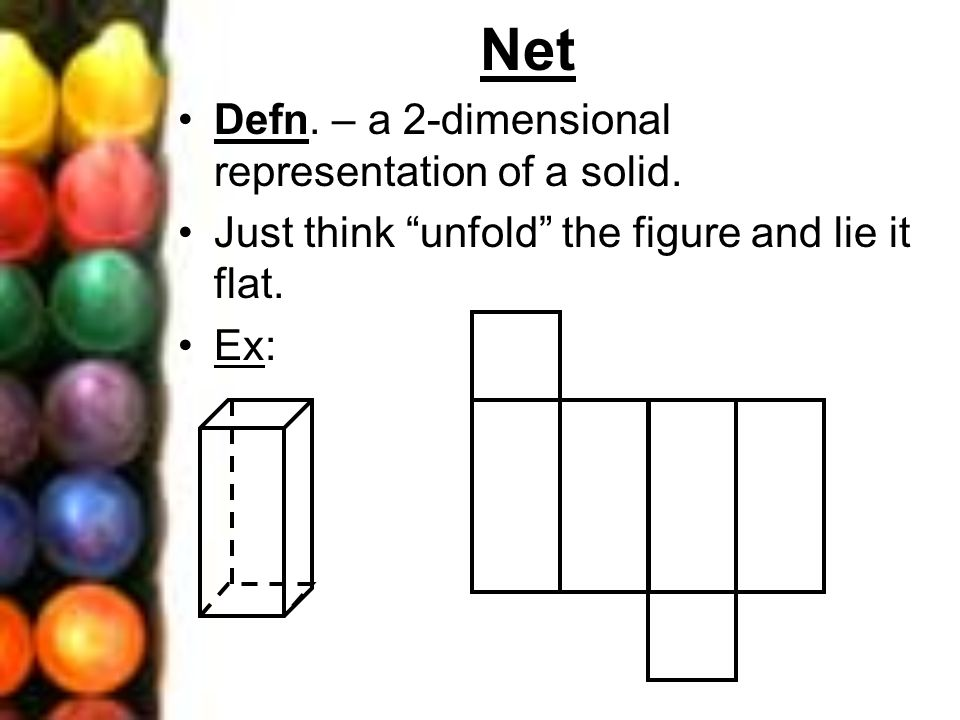 Net Defn. – a 2-dimensional representation of a solid. Just think unfold the figure and lie it flat. Ex: