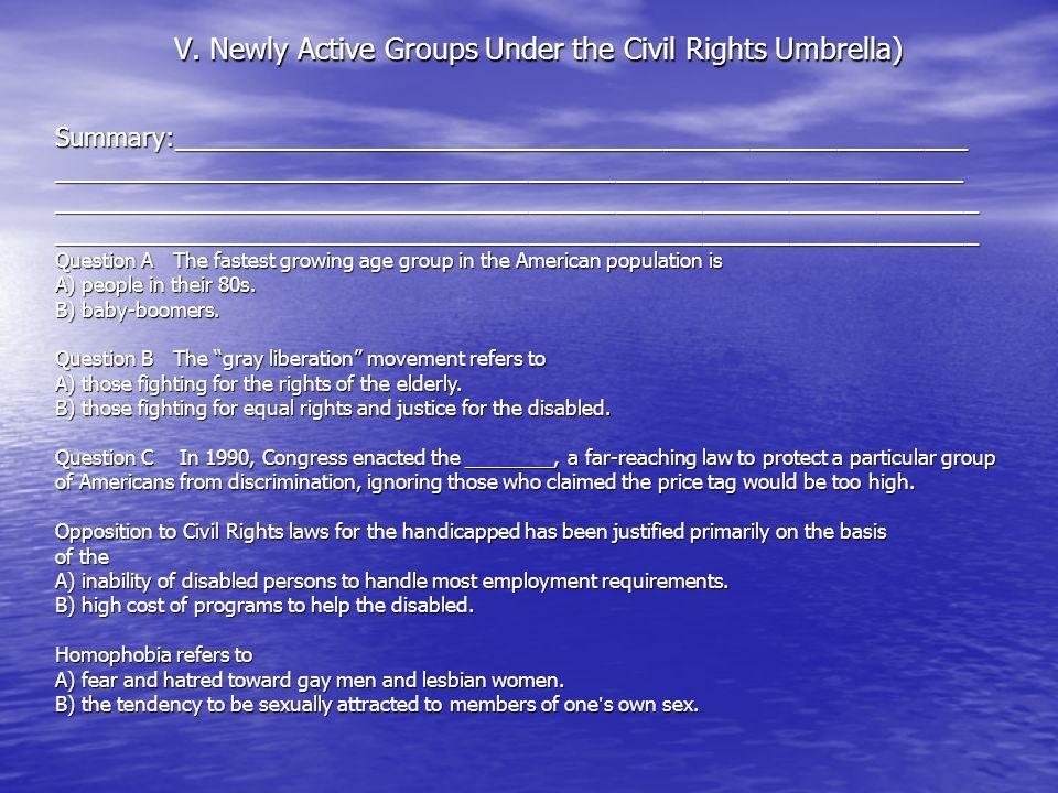V. Newly Active Groups Under the Civil Rights Umbrella) Summary:______________________________________________________________________________________