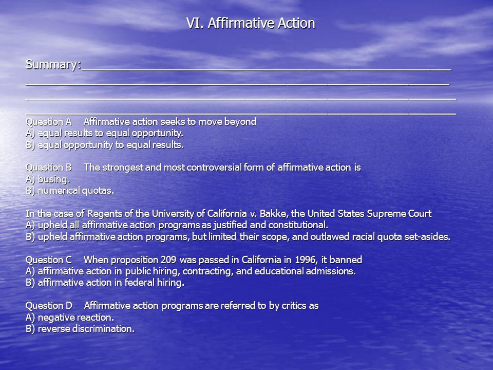 VI. Affirmative Action Summary:_______________________________________________________________________________________________________________________